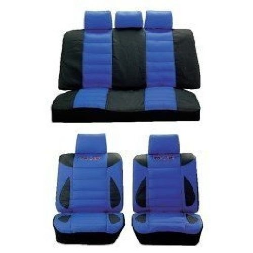 Max Power Lo Back Sports Car Seat Cover Set Blue / Black