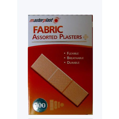 Pack of 100 Assorted Flexible Fabric Plasters Breathable