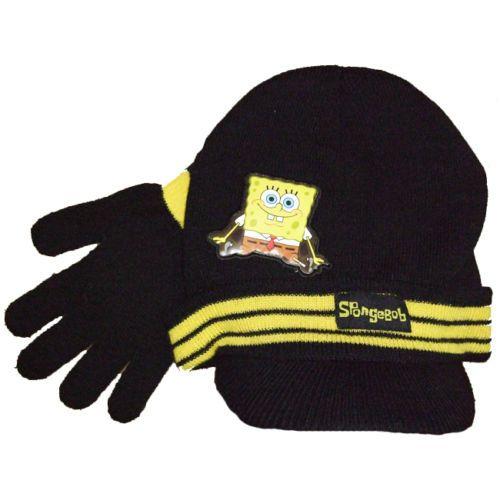 Spongebob Squarepants Childs Kids Peaked Hat & Knitted Gloves Set