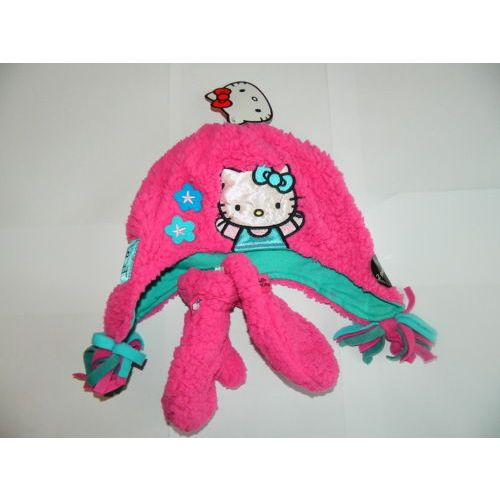 Hello Kitty Childs Kids Fleece Hat & Mitten Glove Set 1-3 or 4-6 Years