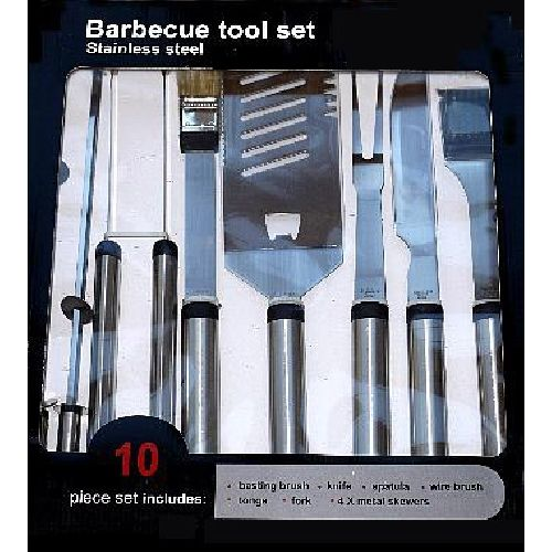 10 Piece Stainless Steel BBQ Tool Set