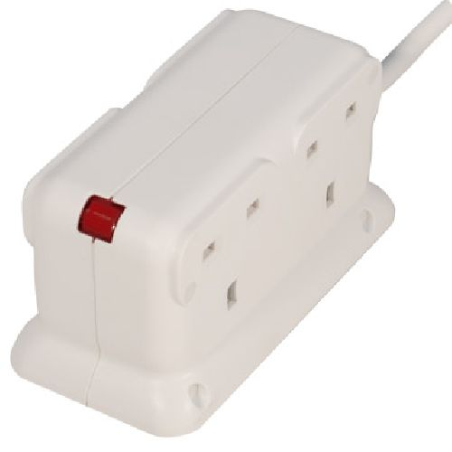 Masterplug 4 Socket 2 Metre Compact Back to Back Extension Lead