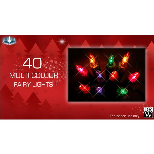 40 Multi Colour Fairy Lights Christmas Tree Decorations