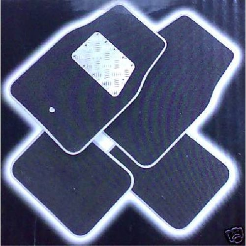 Aluminium / Black Velour Set of 4 Car Mats