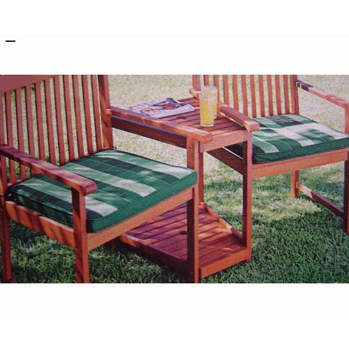 Pair of Garden Duo Seat Pads in Green Check Pattern