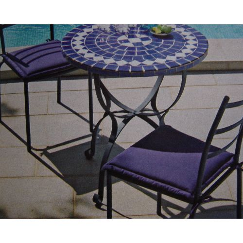 Twin Pack Navy Blue Seat Cushions for Garden Chairs