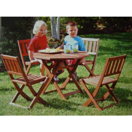 Kids / Childrens Wooden Octagonal Garden Table & 4 Chairs