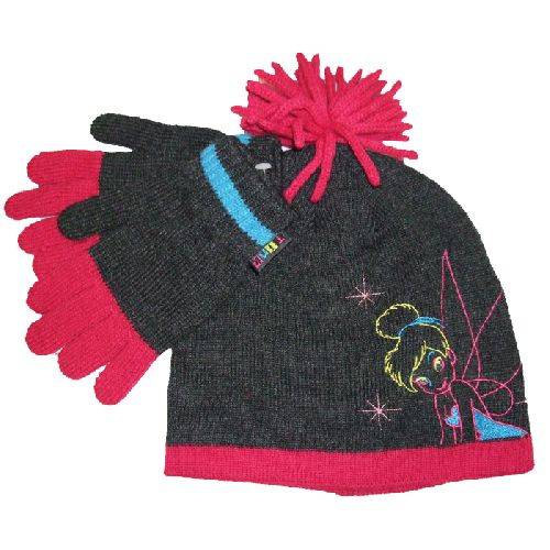 Disney Tinkerbell Childs Kids Hat & Gloves Set (Suitable 4-8 Years)