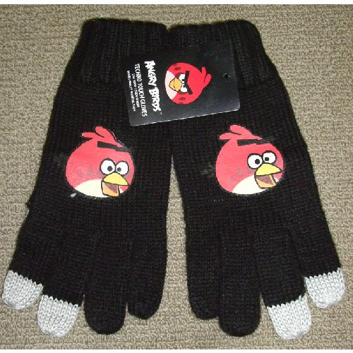 Angry Birds Black Techno Gloves Childs Kids - Ages: 4 - 8 Years
