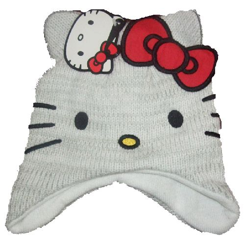 Hello Kitty Childs Kids Grey Knitted Hat 4-8 Years