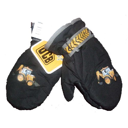 JCB Mittens Childs Kids Gloves Black Boys Ages: 1-3 or 4-6 Years