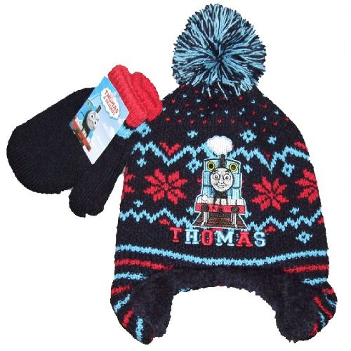 Thomas The Tank Engine Knitted Bobble Hat & Mitten Set