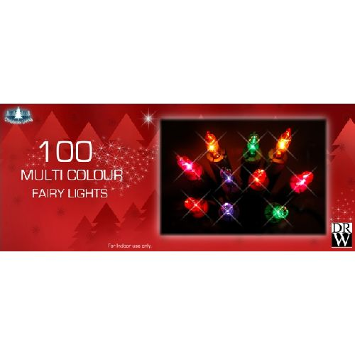 100 Multi Colour Fairy Lights Christmas Tree Decorations
