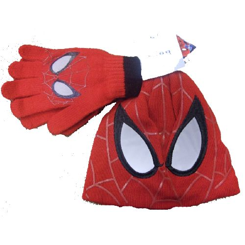 Spiderman Childs Kids Hat & Glove Set Red Knitted Style 7-10 Yrs