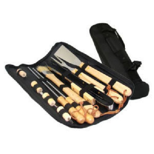 Stainless Steel Premium Wooden Handle BBQ Tool Set