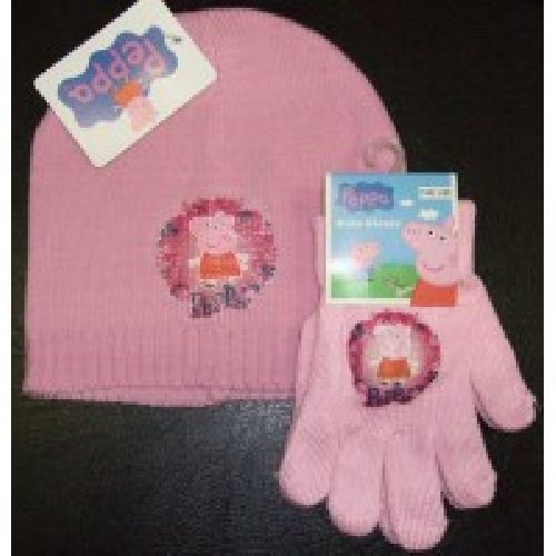Peppa Pig Knitted Hat & Glove Set Childs Kids Ages: 2-4 Years