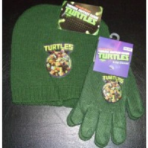 Teenage Mutant Hero Turtles Knitted Hat & Glove Set Childs Kids Age: 2-4