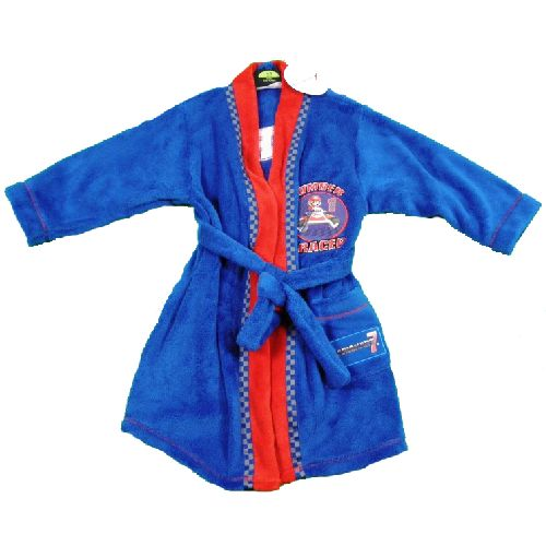 Super Mario Dressing Gown Childs Kids Blue Fleece Robe Ages 7-8 Years